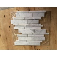 Carrara White Random Strip Honed Marble Mosaic