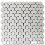 Thassos White  Marble Hexagon polished Mosaic 1 inch