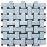 Carrara White 1x2 Basketweave with Black Dots Tumbled Marble Mosaic