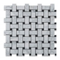 Carrara White 1x2 Basketweave with Black Dots Honed Marble Mosaic