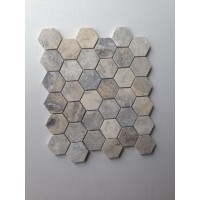 Silver 2 inch Hexagon Honed Travertine Mosaic