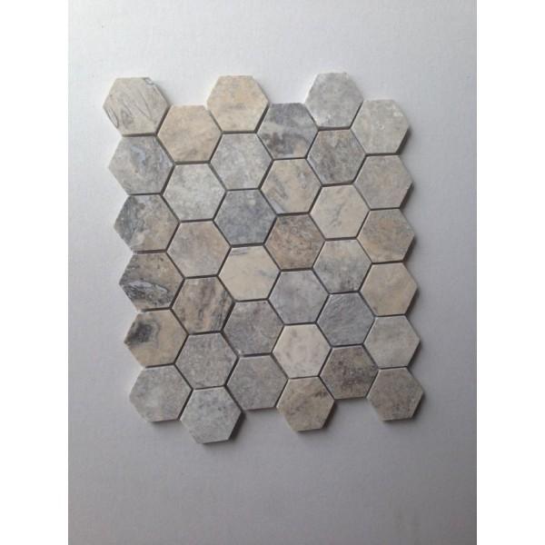 Silver 2 Inch Hexagon Honed Travertine Mosaic