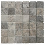 2x2 Silver Tumbled Travertine Mosaic