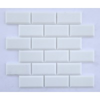 2x4 Thassos White Honed Deep Beveled Marble Mosaic