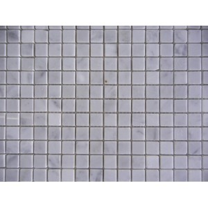 5/8x5/8 Carrara White Honed Marble Mosaic