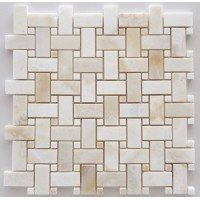 White Onyx Basketweave Polished Mosaic  with White Onyx Dots