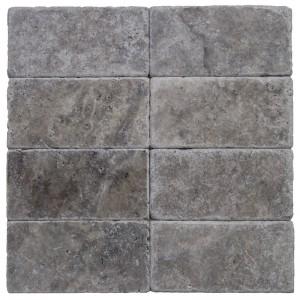 3x6 Silver Tumbled Travertine Tile
