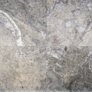 18x18 Silver Honed and Filled Travertine Tile