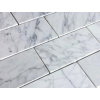 3x6 Carrara White Honed Marble Tile