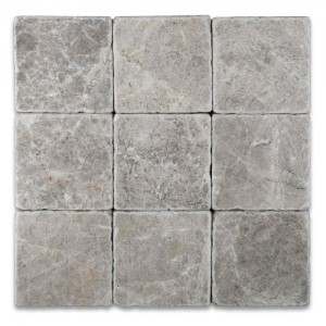 4x4 Tundra Grey Tumbled Marble Tile