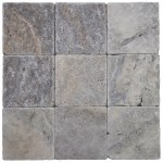 4x4 Silver Tumbled Travertine Tile