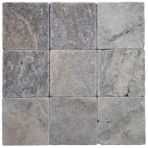 4x4 Silver Tumbled Travertine Tile