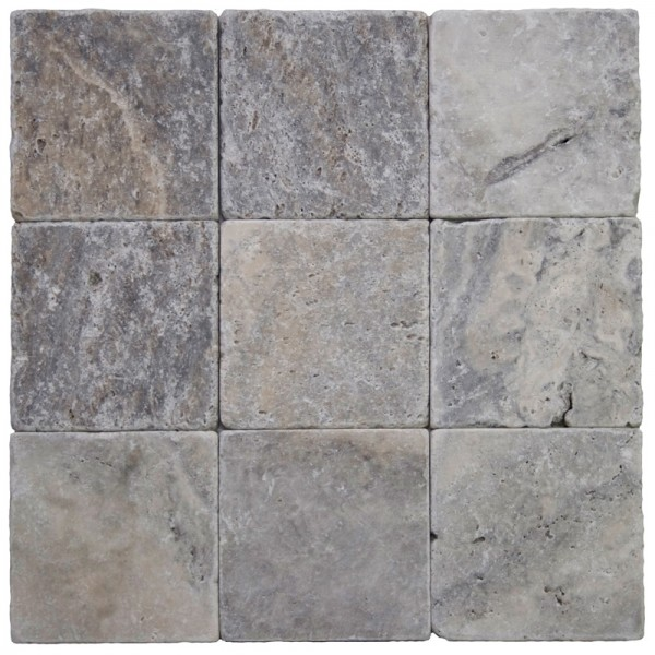 Silver Travertine Backsplash: 4x4 Silver Tumbled Travertine Tile