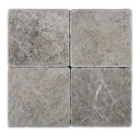 6x6 Tundra Grey Tumbled Marble Tile