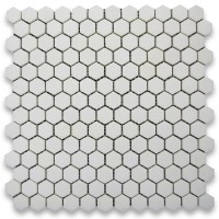 Thassos White  Marble Hexagon Honed Mosaic 1 inch