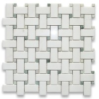 Thassos White Marble Honed Basketweave Mosaic with Black Dots