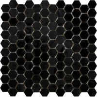 Black Absolute Hexagon Polished Mosaic 1 inch
