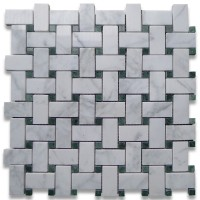 Carrara White 1x2 Basketweave with Green Dots Honed Marble Mosaic