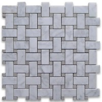 Carrara White 1x2 Basketweave with Grey Dots Honed Marble Mosaic