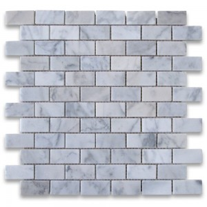 1x2 Carrara White Polished Marble Mosaic