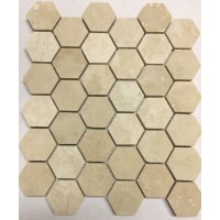 Ivory 2 inch Hexagon Honed Travertine Mosaic