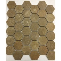 Noce 2 inch Hexagon Honed Travertine Mosaic