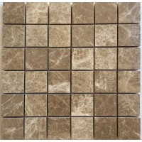 2x2 Light Emperador Polished Marble Mosaic