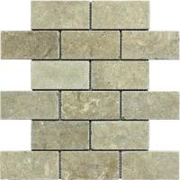 2x4 Seagrass Tumbled Limestone Mosaic