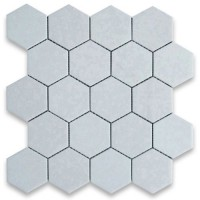 Thassos White  Marble Hexagon Honed Mosaic 3 inch
