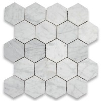 Carrara White 3 inch Hexagon Honed Marble Mosaic