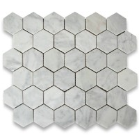Carrara White 2 inch Hexagon Honed Marble Mosaic