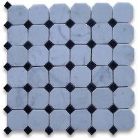Carrara White 2 inch Octagon Polished Marble Mosaic