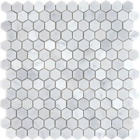 Carrara White Marble Hexagon Honed Mosaic 1 inch