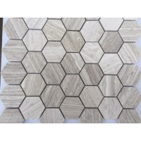 Haisa Light 2 inch Hexagon Honed Limestone Mosaic