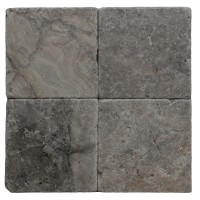 6x6 Silver Tumbled Travertine Tile
